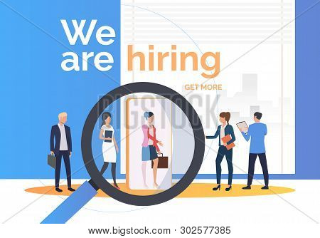 Employment Agency Searching For Job Candidates. Hr, Headhunting, Hiring Concept. Presentation Slide