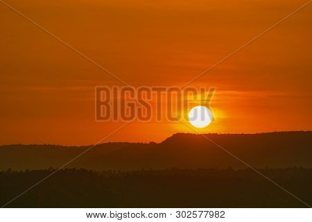 Beautiful Nature Landscape Of Mountain With Sunset Sky And Clouds. Scenery Of Mountain Layer At Dusk