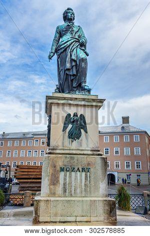 Salzburg, Austria - October 29, 2018: Statue Of Wolfgang Amadeus Mozart On Mozartplatz Or Mozart Squ
