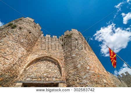 Entrance Gates To The Castle Samuil,located Above Ohrid Lake, Republic Of Macedonia