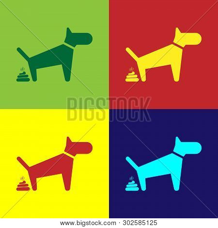Color Dog Pooping Icon Isolated On Color Backgrounds. Dog Goes To The Toilet. Dog Defecates. The Con
