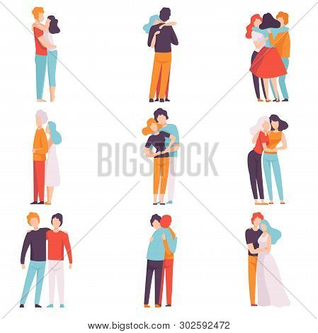 Happy Male And Female Embracing Each Other Set, People Celebrating Event, Couples In Love, Best Frie