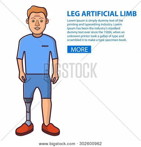 Man With A Leg Artificial Limb.young Person Sport Prostheses. Cartoon Character Flat Line Art Vector