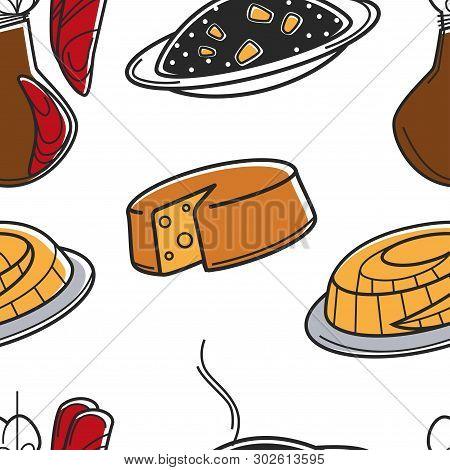 Croatia National Food Seamless Pattern Croatian Cuisine