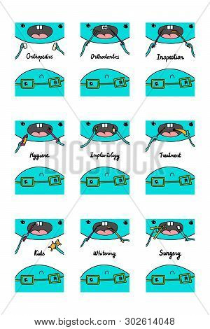 Big Dentistry Set Hand Drawn Vector Illustrations In Cartoon Style. Hygiene Inspection Treatment Kid