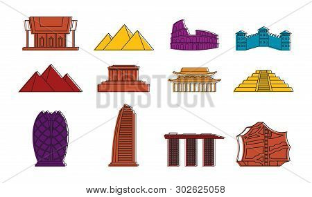 Hystorical Bulding Icon Set. Color Outline Set Of Hystorical Bulding Icons For Web Design Isolated O