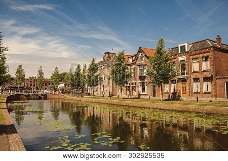 Tree-lined Canal With Aquatic Plants, Streets On The Banks, Brick Houses And Bridge On A Sunny Day I