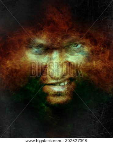Scary angry male face over hell fire - artistic fantasy dark portrait