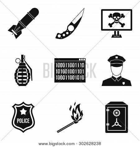 Offence Icons Set. Simple Set Of 9 Offence Icons For Web Isolated On White Background