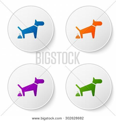 Color Dog Pooping Icon Isolated On White Background. Dog Goes To The Toilet. Dog Defecates. The Conc