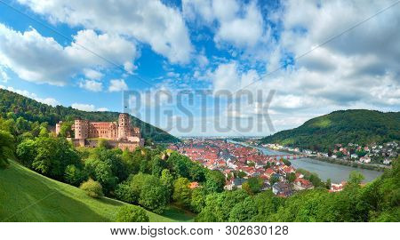 Heidelberg Town In Germany And Ruins Of Heidelberg Castle (heidelberger Schloss) In Spring, Panorami