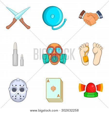 Unlawful Act Icons Set. Cartoon Set Of 9 Unlawful Act Icons For Web Isolated On White Background