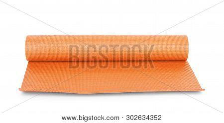 Orange Color Yoga Matt On Background Practice, Mattress, Clipped, Tempo, Gob
