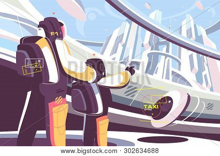 Weekdays Of People In Future Vector Illustration