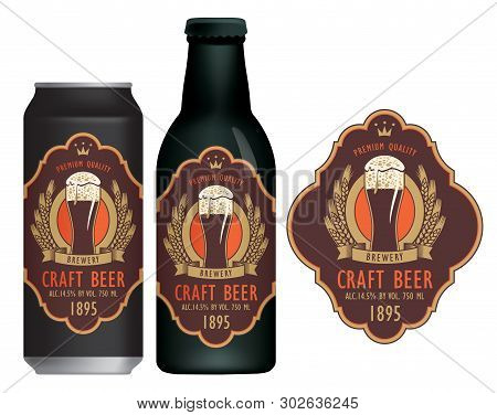 Vector Label For Craft Beer With A Overflowing Glass Of Frothy Beer, Coat Of Arms, Ears Of Wheat And