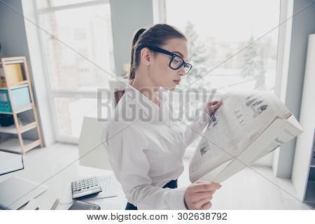 Close Up Side Profile Photo Beautiful She Her Business Lady Eyewear Eyeglasses Hands Arms Fresh Pres