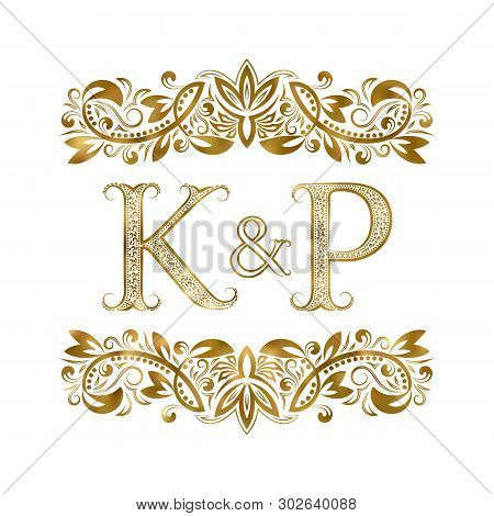 K And P Vintage Initials Logo Symbol. The Letters Are Surrounded By Ornamental Elements. Wedding Or