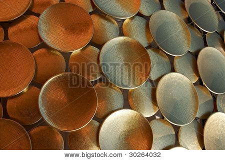 Background Of Golden Discs. Detail Of Architecture.