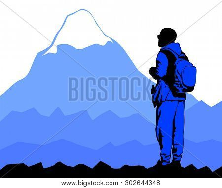 Tourist in hiking clothes with a large backpack