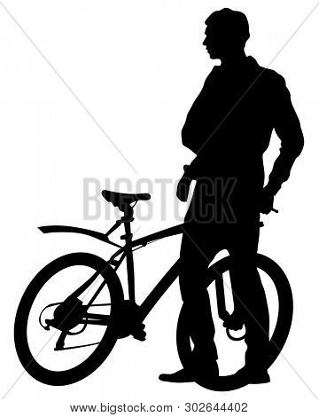 Sport people whit bike on white background