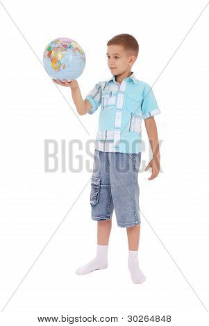 The Boy Holds The Globe In Hands