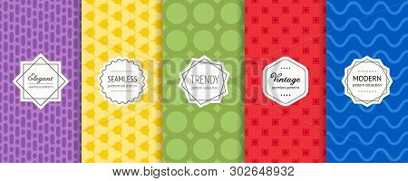 Vector Set Of Geometric Seamless Patterns. Collection Of Bright Colorful Background Swatches With El