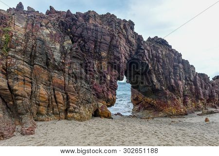 The Natural Arch On The Beach Of Jericoacoara In Brazil