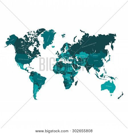 Vector Map Of The World, With Countries Borders And Names Ready For Laser Engraving Or Cutting.