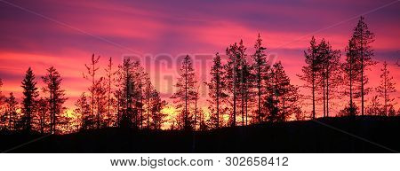 Colorful Sunset Over Lapland In Northern Sweden.