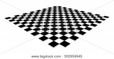 Checkerboard, Chessboard, Checkered Plane In Angle Perspective. Tilted, Vanishing Empty Floor. 3d Bl
