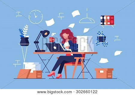 Large Amount Of Work Vector Illustration. Busy