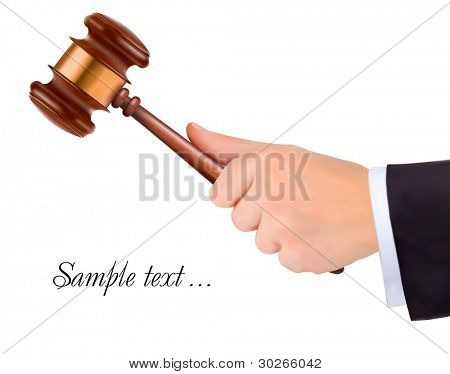 Hand holding judge's gavel. Vector