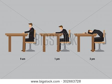 Office Worker Feeling Energetic In Morning And Drowsy In Afternoon. Vector Cartoon Illustrations On