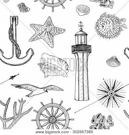 Naval Seamless Vector Pattern Set Nautical Silhouette Symbols. Gulls, Helm, Steering Wheel, Anchor,