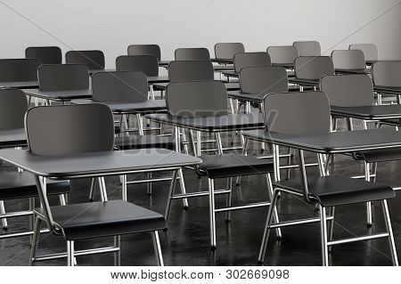 Empty Desk Seats In Lecture Room Or School Classroom. Business Seminar, Training And Education Conce