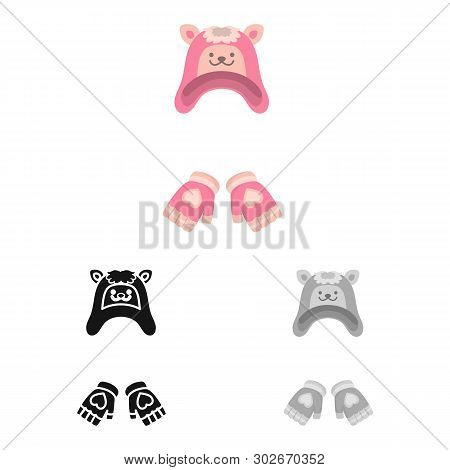 Vector Illustration Of Hat And Gloves  Logo. Set Of Hat And Pompom Vector Icon For Stock.