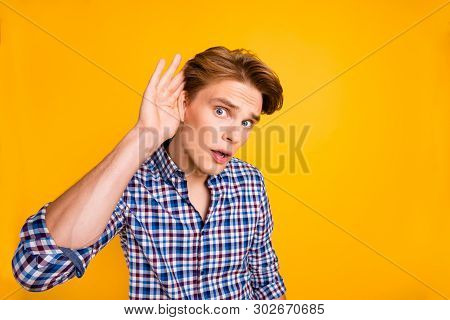 Close-up Portrait Of His He Nice Attractive Worried Guy Wearing Checked Shirt Trying To Hear Importa