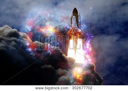 Space Shuttle Taking Off On A Mission. Deep Space. Beauty Of Endless Universe. Elements Of This Imag