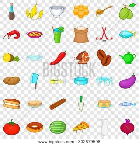 Gastronomy Icons Set. Cartoon Style Of 36 Gastronomy Vector Icons For Web For Any Design