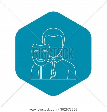 Businessman Holding Disguise Mask Icon. Outline Illustration Of Businessman Holding Disguise Mask Ve