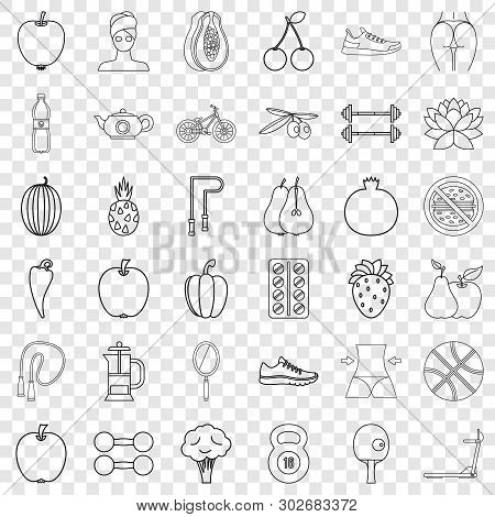 Slimness icons set. Outline style of 36 slimness vector icons for web for any design poster
