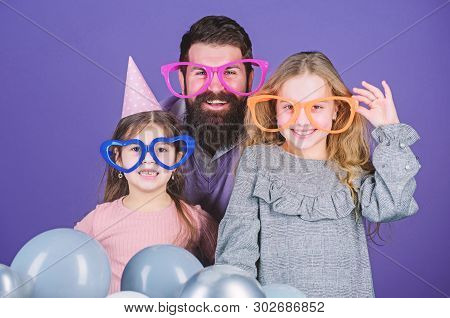 Fancy Party. Family Of Father And Daughters Wearing Party Goggles. Family Party. Happy Family Celebr