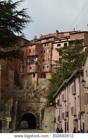 December 28, 2013. Albarracin, Teruel, Aragon, Spain. Medieval Villa Albarracin With Its Hanging Mou