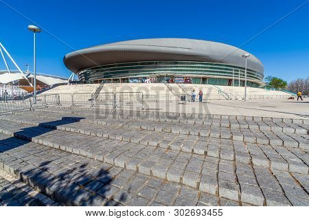 Lisbon, Portugal - April  02, 2018: Altice Arena aka Meo or Pavilhao Atlantico Pavilion. The largest venue of Lisbon in Parque das Nacoes aka Park of Nations