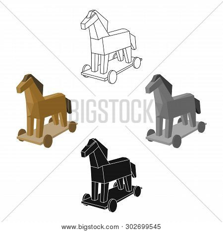 Trojan horse icon in cartoon, black style isolated on white background. Hackers and hacking symbol stock vector illustration. poster