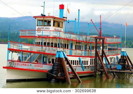 May 20, 2019 In Cascade Locks, Or:  Columbia Gorge Paddlewheel Boat Which Is A Sightseeing Ship On T