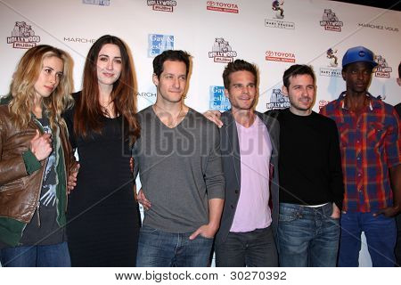 LOS ANGELES - FEB 19:  Gillian Zinser; Madeline Zima; Jeremy Glazer; Greg Rikaart; Dan Harris; Edi Gathegi; Chad Hodge arrives at the 2nd Annual Hollywood Rush on February 19, 2012 in Los Angeles, CA.