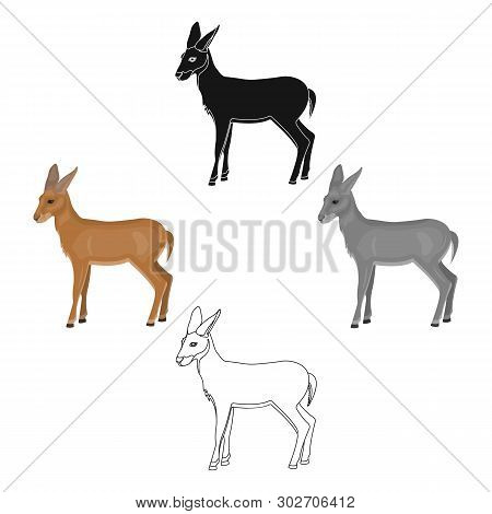 A Young, Wild Antelope. A Wild-footed Animal Of An Antelope Single Icon In Cartoon, Black Style Vect