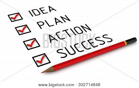Idea, Plan, Action, Success. List With The Check Marks. Business Strategy: Idea, Plan, Action, Succe