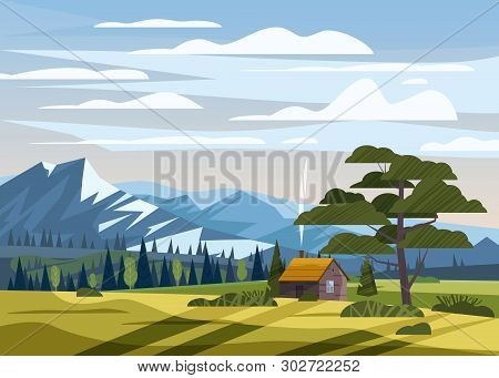 Beautiful Summer Mountain Landscape Valley Rural Farm House Countryside, Green Hills, Bright Color B